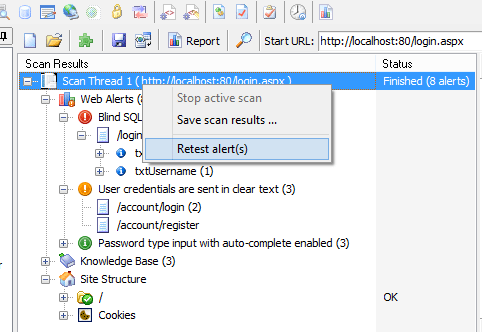 Acunetix second scan