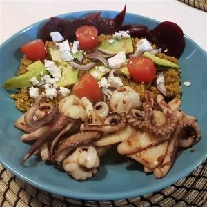 025 - Chilli Squid w rainbow quinoa salad