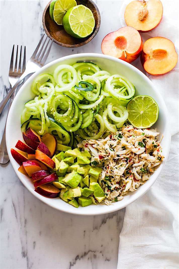 asian-crab-and-avocado-spiralized-cucumber-salad