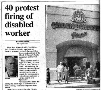copy of newspaper article on Chuck E Cheese case.