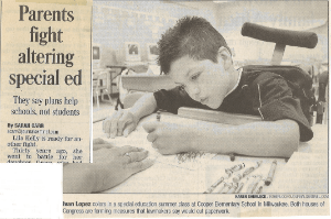 Newspaper Article: Parents Fight Altering Special Ed