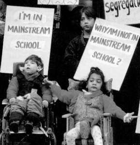 Children protesting against segregated schools for kids with disabilities