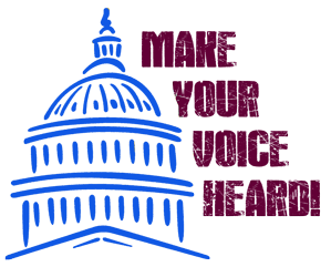 capitol outline with Make your voice heard in bold text
