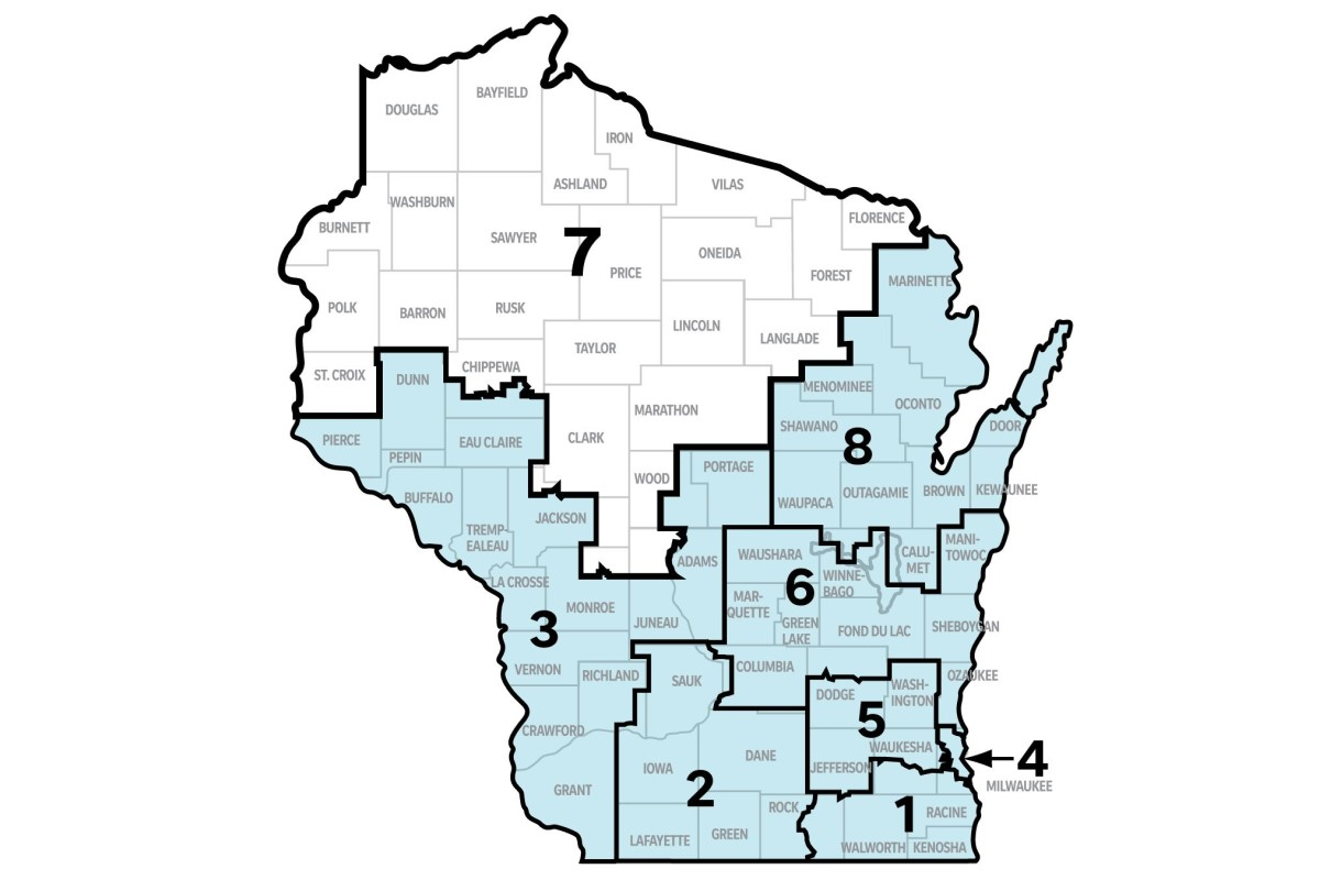 Map of Wisconsin with District 7 highlighted