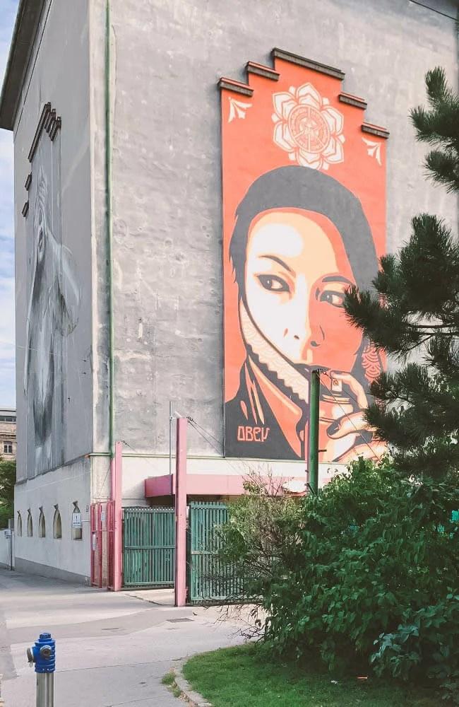 Il wall di Shepard Fairey in arte Obey