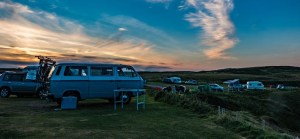 Parked camping vehicles