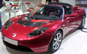 Red Tesla electric car