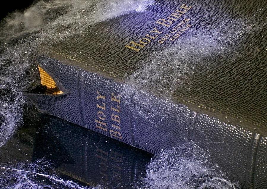 Holy Bible amassing dust on bookshelf