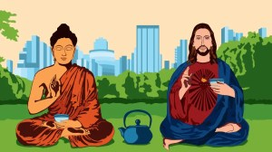 Jesus and Buddha serving tea - or is it coffee?