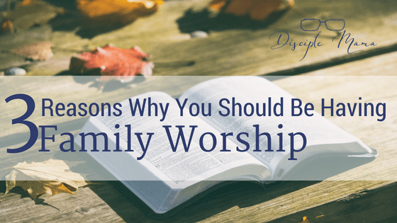 An open Bible on wood planks with scattered autumn leaves, text: 3 Reasons Why You Should Be Having Family Worship-Disciple Mama logo