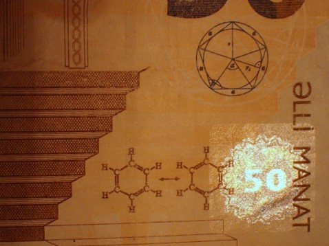 In case you'd forgotten the resonance forms of benzene they put them on the 50 Manat note