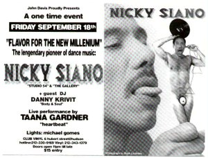 Nicky Siano Gig Flyer