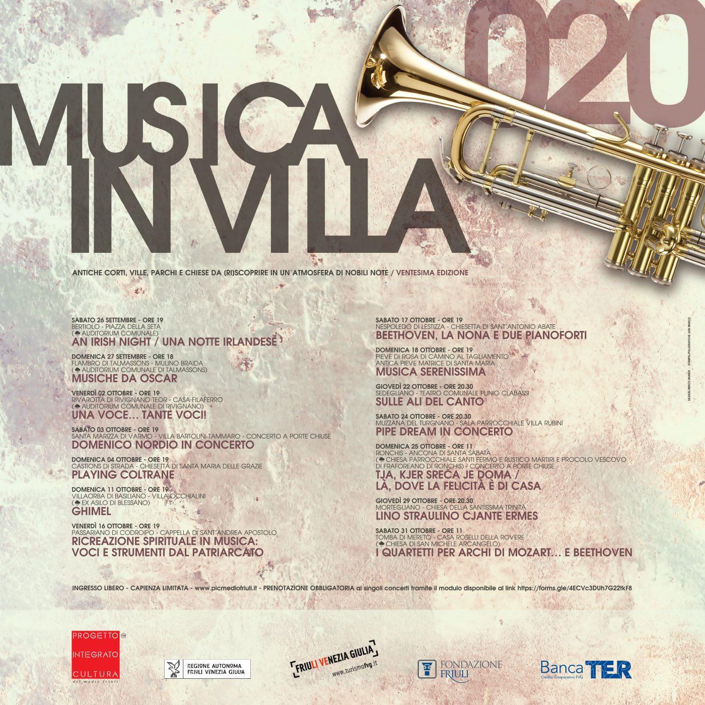 MUSICA IN VILLA 2020 14 concerti, dal 26 settembre al 31 ottobre