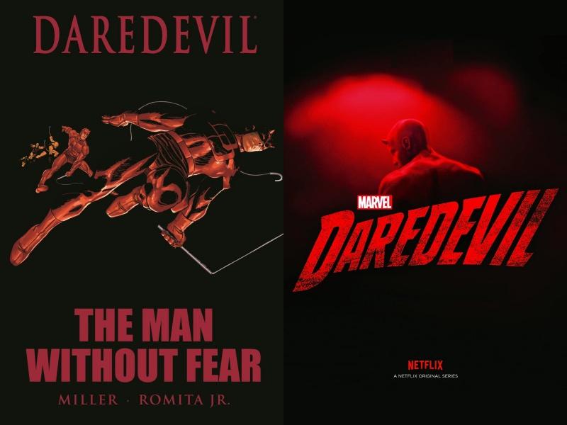 DareDevil dal fumetto alla serie: a sinistra la cover di The man without fear (Credits: Marvel), a destra la locandina della serie Marvel's DareDevil (Credits: Netflix)