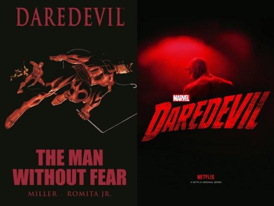 A sinistra la cover di The man without fear (Credits: Marvel), a destra la locandina della serie Marvel's DareDevil (Credits: Netflix)