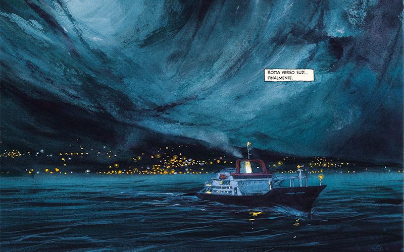 """""""Rotta verso sud... finalmente"""", recita questa bella scena di Le isole ai confini del mondo, edito da Tunué"""