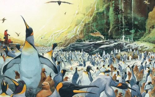 Una scena dell'opera di Emmanuel Lepage: pinguini a perdita d'occhio
