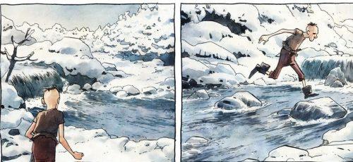 Una scena in cui il protagonista dell'opera di Gipi e Luigi Critone corre nella neve