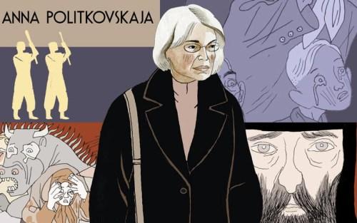 Anna Poltkovskaja in un dettaglio della copertina del fumetto di Igort, Quaderni russi