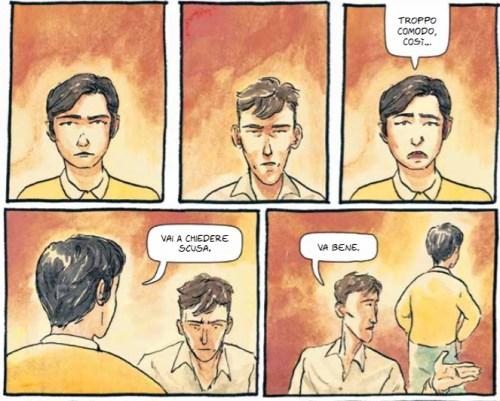 La metà superiore della tavola a pagina 118 di Chi conosci davvero, il fumetto dei Perturbazione