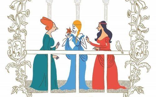 Tre donne parlano tra loro in una vignetta di Pelle d'uomo