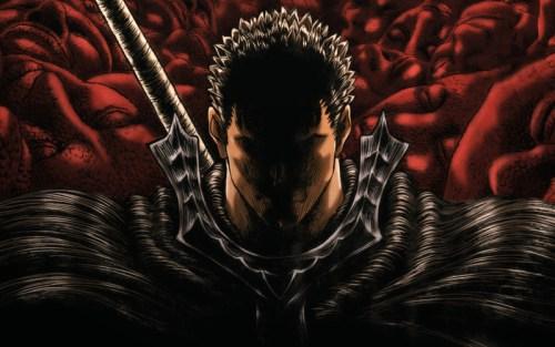 Gatsu, protagonista di Berser di Kentaro Miura, ritratto controluce