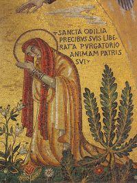 Immagine di Santa Odilia (o Ottilia) per rappresentare il romanzo del Medioevo Il miracolo di Santa Odilia di Laura Mancinelli