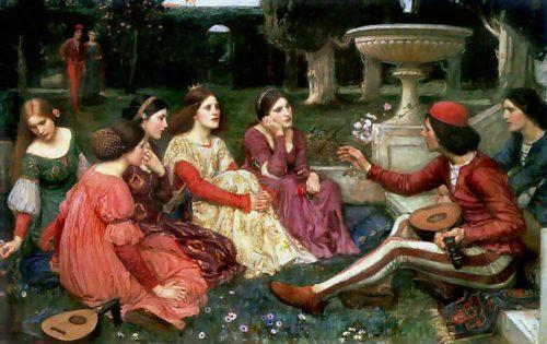 Un gruppo di giovani si racconta novelle su un prato in un dipinto di John William Waterhouse
