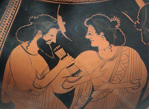 Hermes e la dea Maia, dettaglio di un'anfora greca