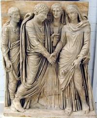 Il matrimonio nell'antichità rappresentato da quest'opera in cui due persone che si scambiano la destra dopo aver contratto matrimonio