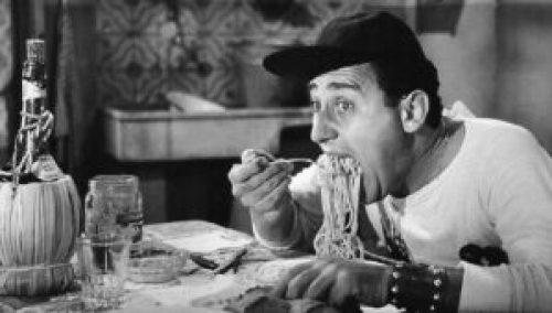 La famosa scena degli spaghetti di Un americano a Roma