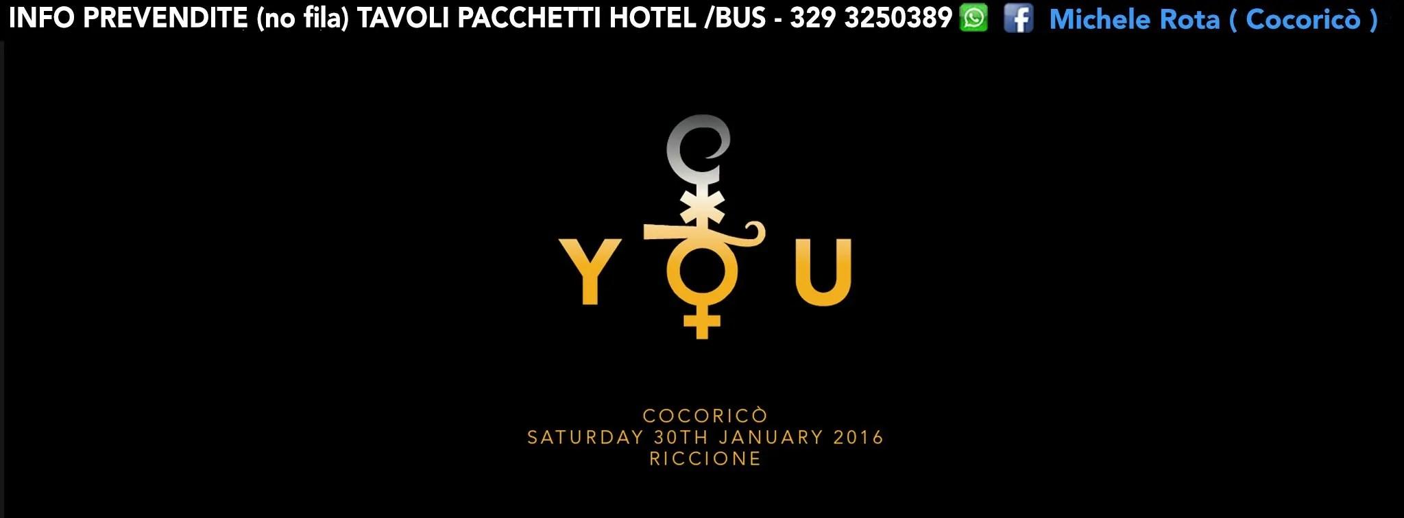 COCORICO RICCIONE SABATO 30 GENNAIO 2016 PREZZI PREVENDITE BIGLIETTI TAVOLI HOTEL + PULLMAN