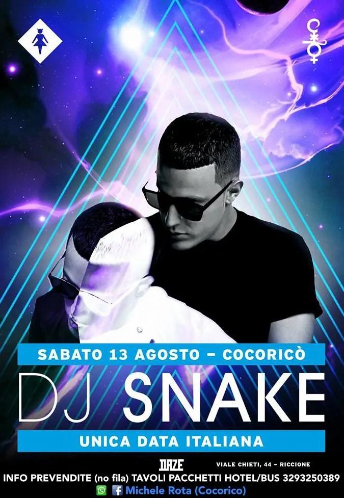 Sabato 13 AGOSTO 2016 DJ SNAKE al COCORICO PREZZI PREVENDITE BIGLIETTI TAVOLI HOTEL + PULLMAN