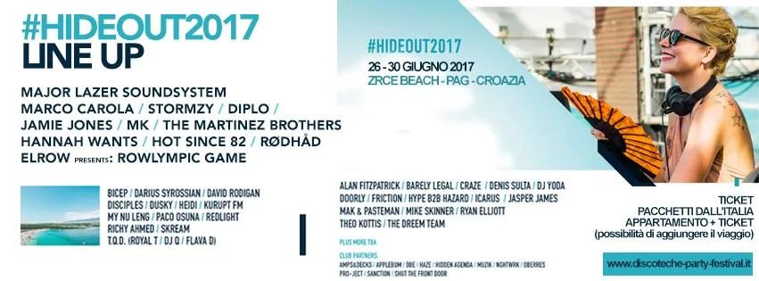 HIDEOUT FESTIVAL 2017 – ZRCE BEACH – PAG – CROAZIA Ticket Pacchetti Appartamento