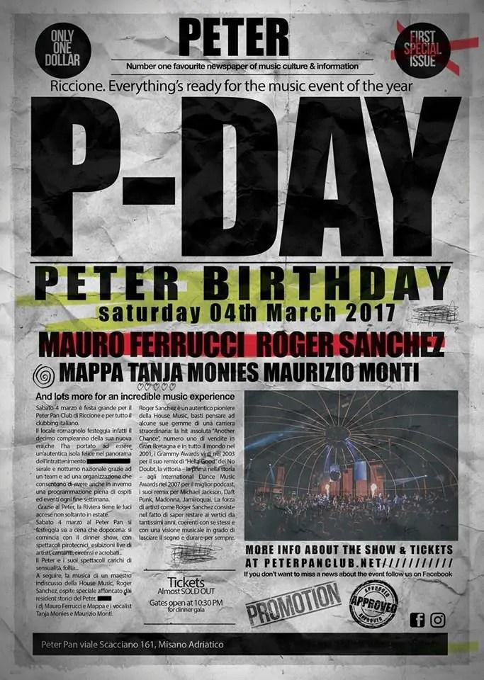 PETER PAN RICCIONE SABATO 04 MARZO 2017 ROGER SANCHEZ + PREZZI PREVENDITE BIGLIETTI TAVOLI HOTEL + PULLMAN