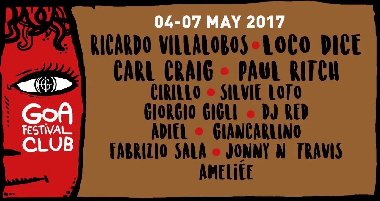 GOA FESTIVAL CLUB 4 – 7 Maggio 2017 GOA CLUB Roma Prezzi Date Ticket Prevendite Biglietti Tavoli Liste Pacchetti Hotel