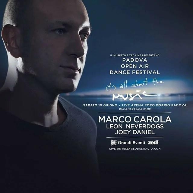MARCO CAROLA PADOVA 10 Giugno 2017 OPEN AIR + Prezzi Ticket Biglietti Tavoli Pacchetti Hotel Bus