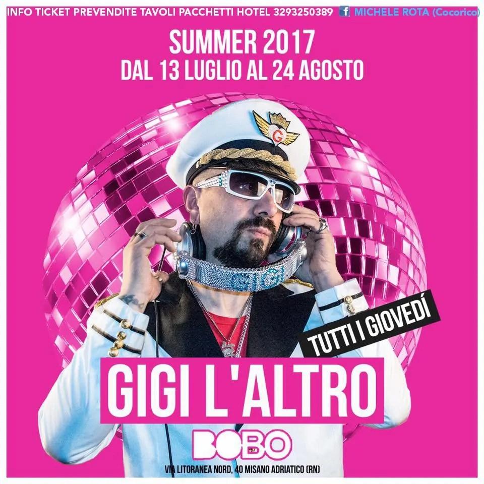 GIGI L'ALTRO al BOBO beach 20 07 2017 + KIAVATAR OPEN BAR Prezzi Ticket prevendite