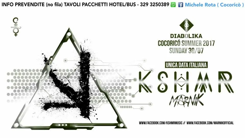 Domenica 30 Luglio 2017 KSHMR COCORICO PREZZI PREVENDITE TICKET BIGLIETTI TAVOLI HOTEL + PULLMAN