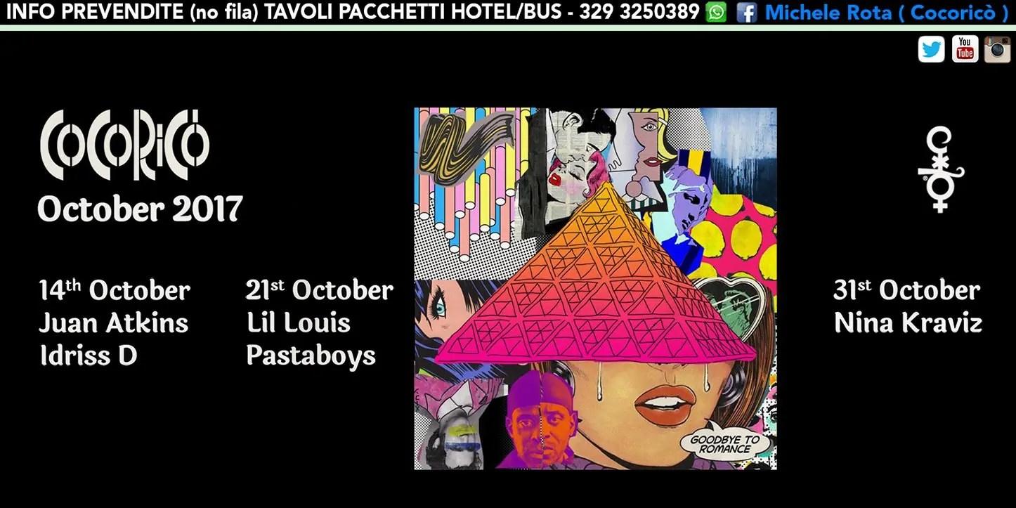 21 10 2017 Lil Luis Pastaboys Cocoricò Riccione Prezzi Prevendite Biglietti Tavoli Hotel e Pullman