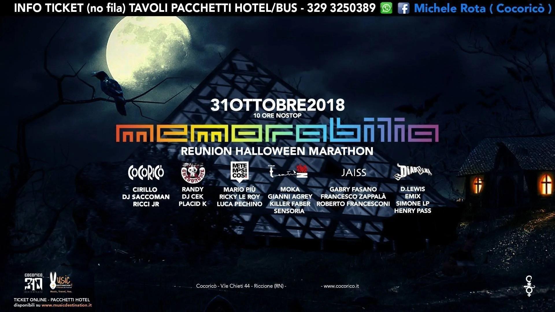 31 Ottobre 2018 HALLOWEEN MEMORABILIA Cocorico Riccione | Prezzi Ticket Pacchetti Hotel Bus