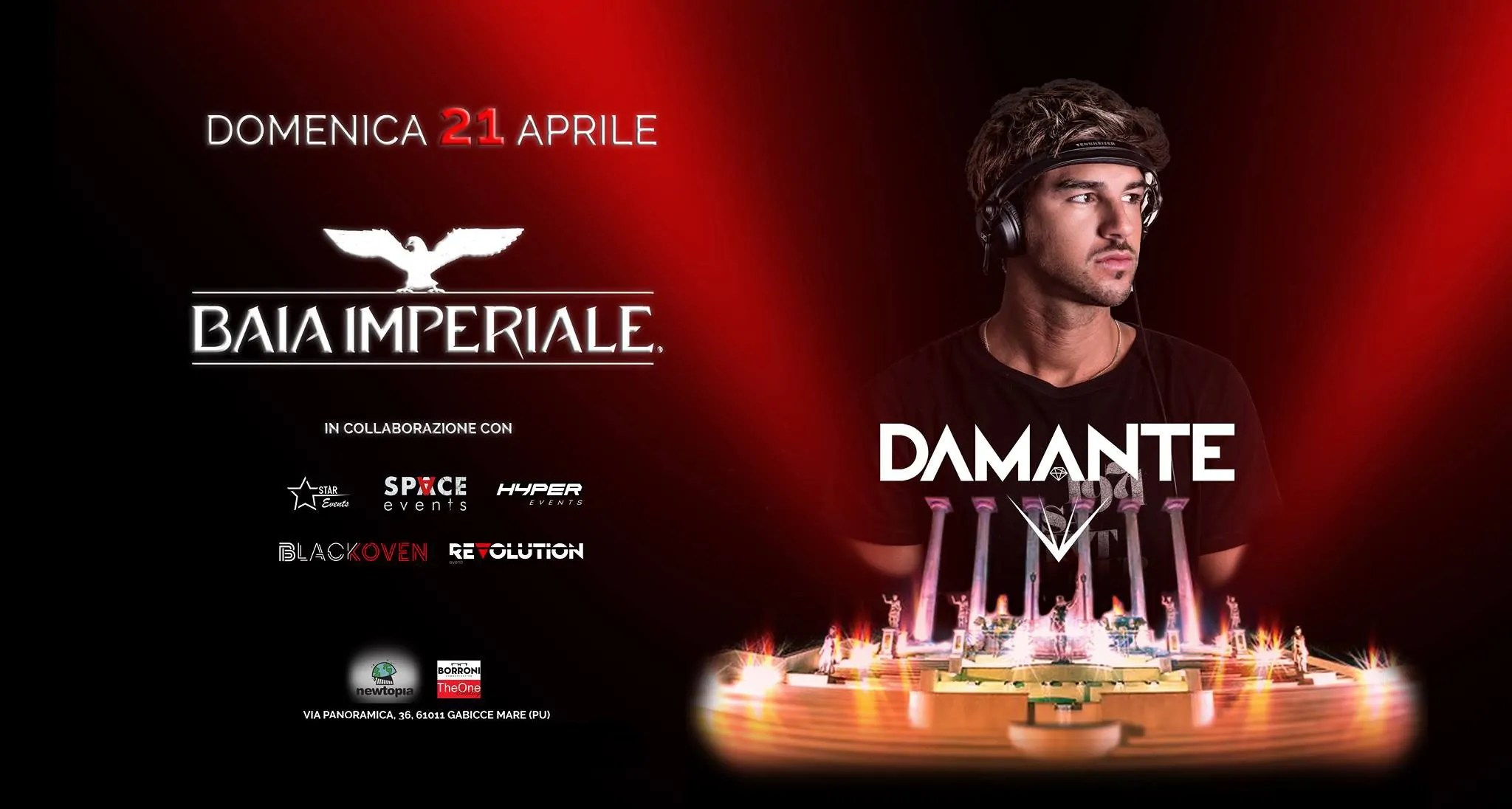 PASQUA 2019 alla BAIA IMPERIALE – ANDREA DAMANTE – 21 Aprile 2019   Ticket Tavoli Pacchetti hotel Prevendite
