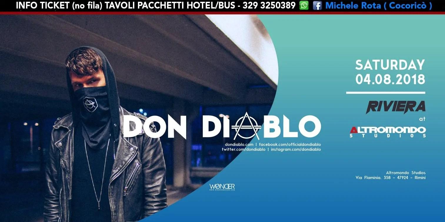 DON DIABLO all' Altromondo Studios Rimini – Sabato 04 AGOSTO 2018 | Ticket Tavoli Pacchetti hotel Prevendite