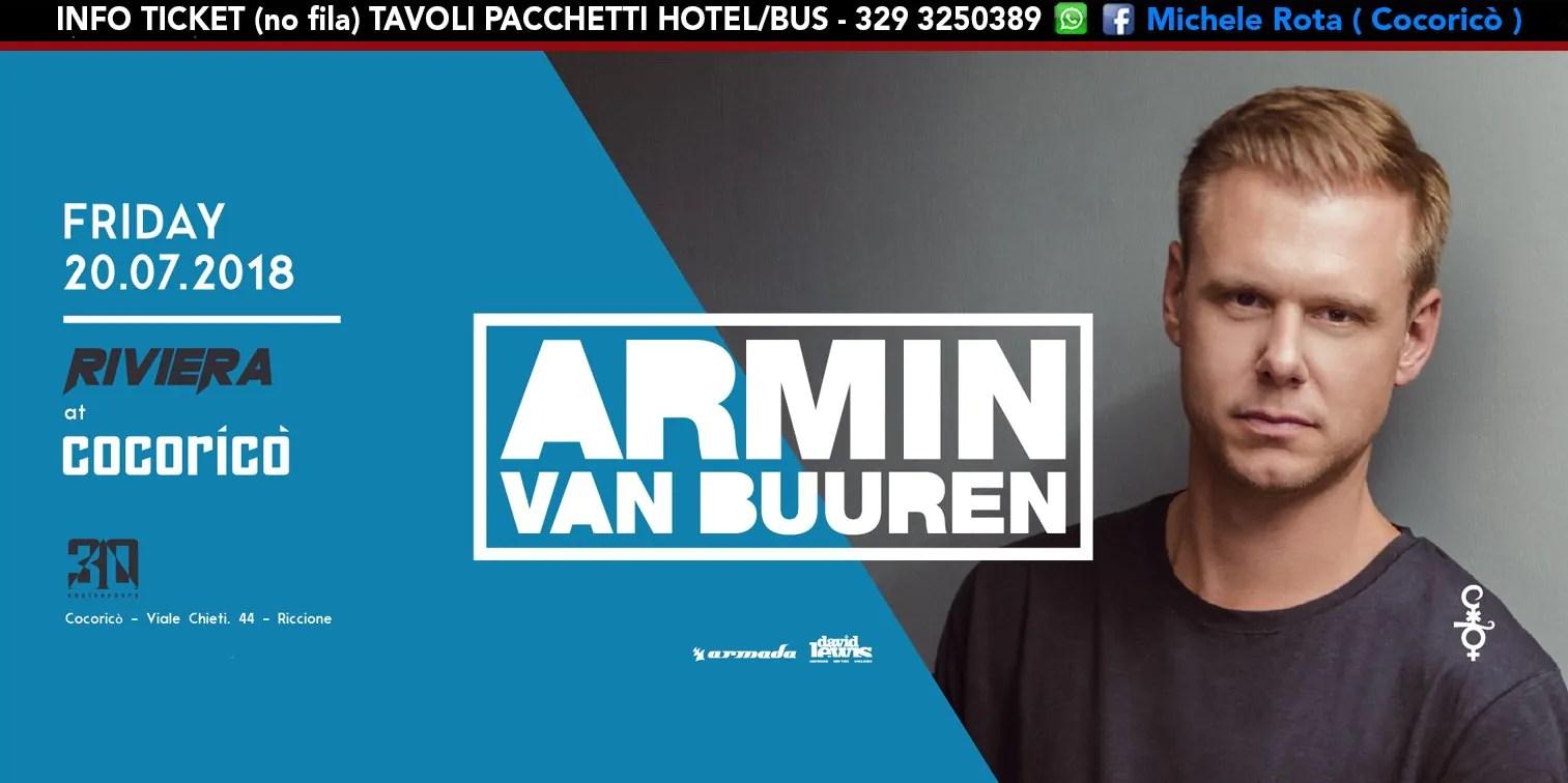 Armin Van Buuren al Cocoricò RIVIERA Riccione – Venerdì 20 Luglio 2018 | Ticket Tavoli Pacchetti hotel Prevendite
