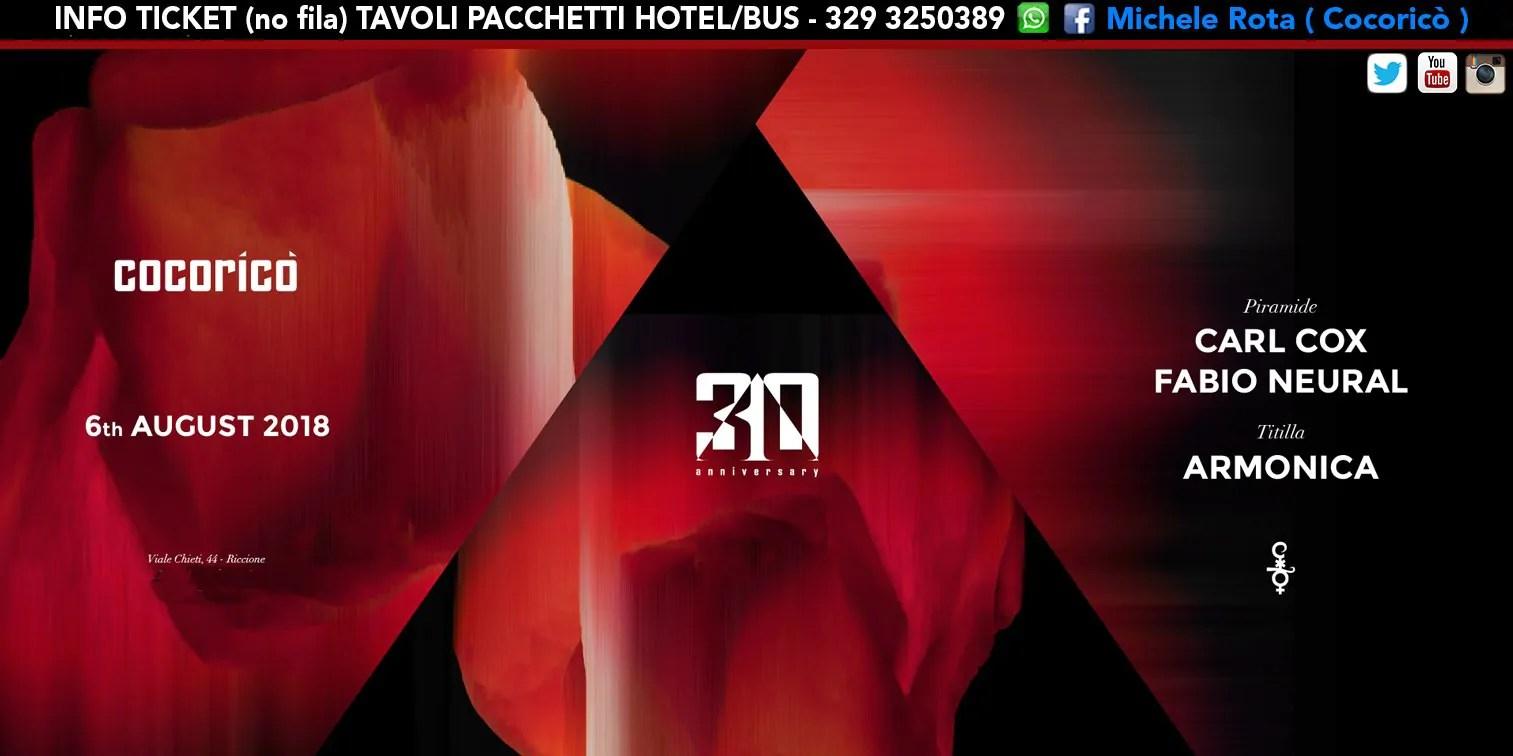 Carl Cox al Cocoricò Riccione – Lunedì 06 Agosto 2018 | Ticket Online Tavoli Pacchetti hotel Prevendite