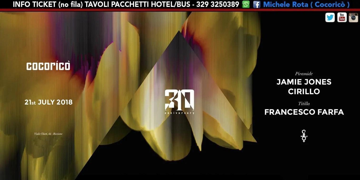 Jamie Jones al Cocoricò Riccione – Sabato 21 Luglio 2018   Ticket Tavoli Pacchetti hotel Prevendite