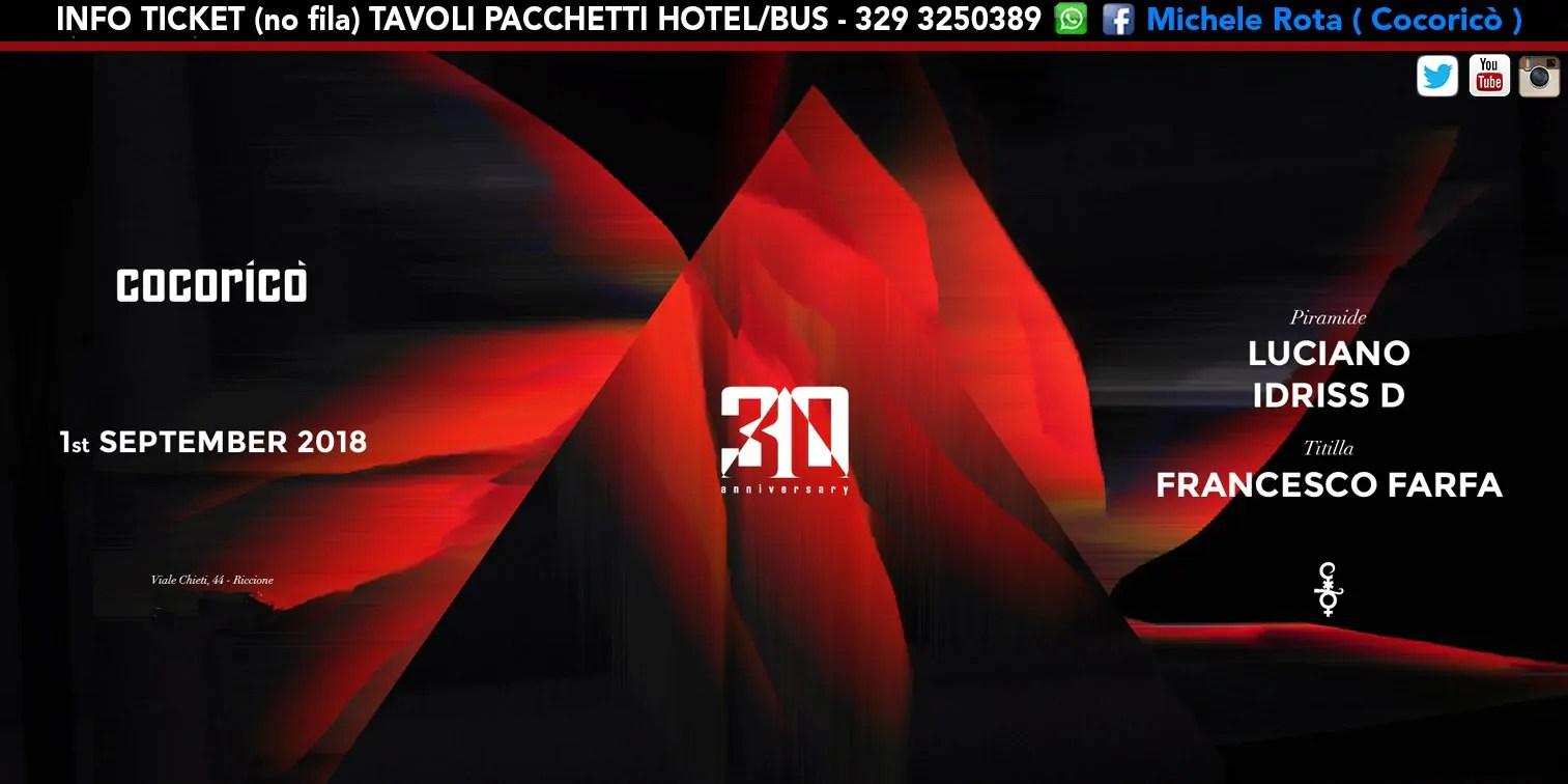 LUCIANO Al Cocoricò Riccione – Sabato 01 Settembre 2018 | Ticket Online Tavoli Pacchetti Hotel Prevendite