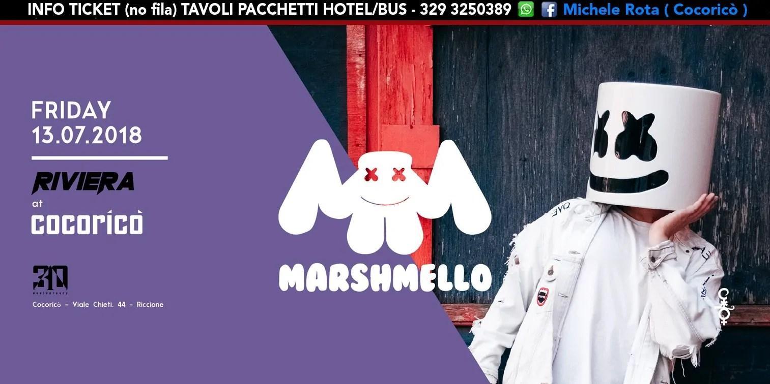 Marshmello al Cocoricò RIVIERA Riccione – Venerdì 12 Luglio 2018 | Ticket Tavoli Pacchetti hotel Prevendite