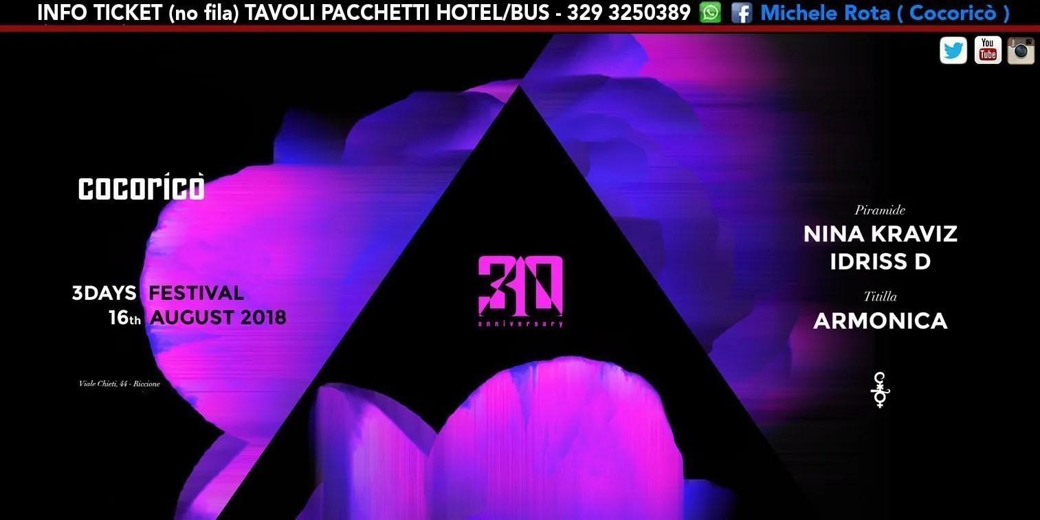 NINA KRAVIZ al Cocoricò Riccione 3DAYS FESTIVAL – Giovedì 16 Agosto 2018 | Ticket Online Tavoli Pacchetti hotel Prevendite