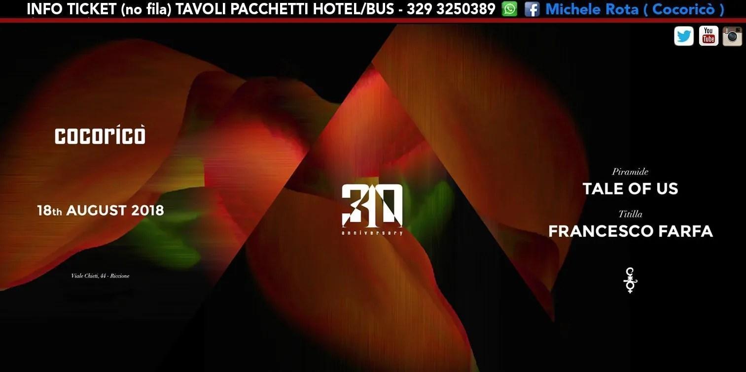 Tale Of Us Cocorico 18 Agosto 2018 Ticket Tavoli Pacchetti Hotel